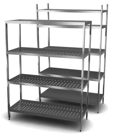 Стеллаж из стали предназначен для хранения кухонного инвентаря, посуды