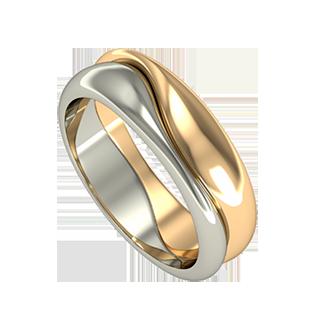 Свадебное обручальное кольцо из белого и красного золота